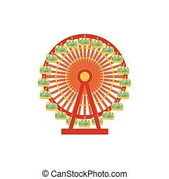 koło, ilustracja, ferris, przód, rysunek, prospekt