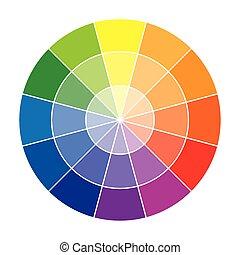 koło, kolor, dwanaście, kolor, albo, koło