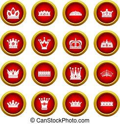 koło, komplet, korona, czerwony, ikona
