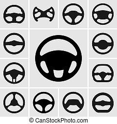 koło, komplet, sterowniczy, ikony