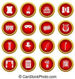 koło, komplet, teatr, czerwony, ikona