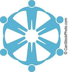 koło, ludzie, logo.holding, siła robocza