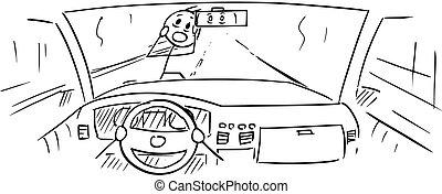 koło, na dół, pasaż, prawie, wóz, rysunek, kierowca, pieszy...