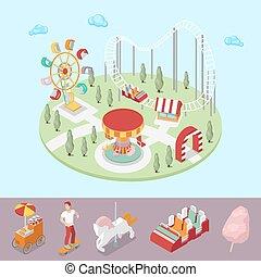 koło, płaski, isometric, ferris, park, ilustracja, rollercoaster., wektor, carousel, rozrywka, 3d
