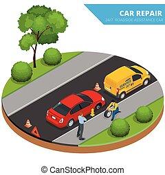 koło, płaski, isometric, wypadek, service., wóz, auto, pomoc...