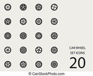 koło, płaski, komplet, wóz, icons., wektor, ilustracja