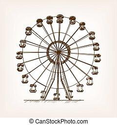 koło, rys, styl, ilustracja, ferris, wektor