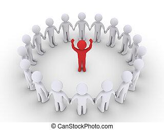 koło, słuchać, lider, kształt, ludzie