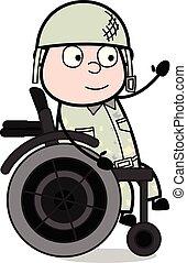 koło, sprytny, armia, posiedzenie, -, ilustracja, ręka, ...