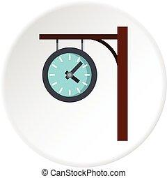 koło, stacja, zegar, ikona