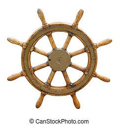 koło, stary, sterowniczy, łódka