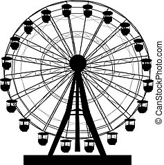 koło, sylwetka, barwny, atraktsion, ilustracja, ferris, tło, biały