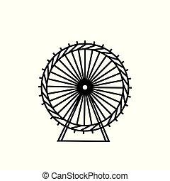 koło, sylwetka, illustration., ferris, motion., carnival., tło., wektor, funfair, circle., carousel