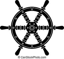 koło, sylwetka, wektor, morski, sterowniczy, łódka