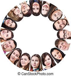 koło, szczęśliwy, grupa, ludzie