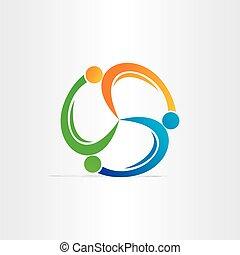 koło, teamwork, symbol, ludzie