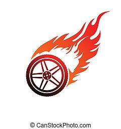 koło, wóz, czerwony, płonący, pomarańcza