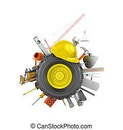 koło, wóz, ilustracja, materiały, zbudowanie, biały, narzędzia, background.3d