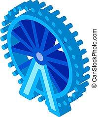 koło, wektor, ferris, isometric, ilustracja, ikona