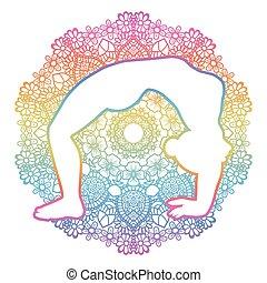 koło, yoga, dhanurasana, pose., łuk, zwyżkowy, urdhva, silhouette., kobiety