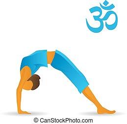 koło, yoga upozowują, łuk, albo, zwyżkowy
