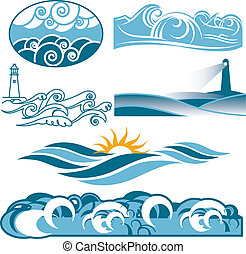 kołyszący, błękitny, morza