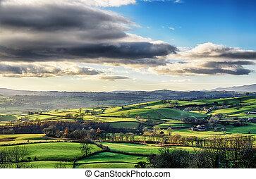 kołyszący, okolica, cumbria., angielski