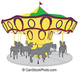 koń, carousel, karuzela