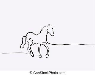 koń, drawing., ciągły, jeden, logo, kreska