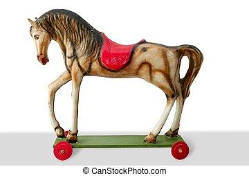 koń, drewniany, rocznik wina, barwny, zabawka, dla, dzieci
