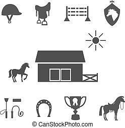 koń, grayscale, białe tło, ikony