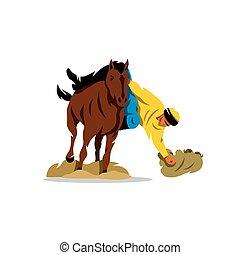 koń, illustration., buzkashi., gra, wektor, rysunek
