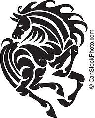 koń, illustration., plemienny, -, styl, wektor
