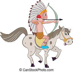 koń, indianin