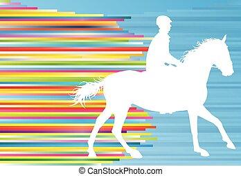 koń, jeździec, abstrakcyjny, ilustracja, wektor, tło, sport...