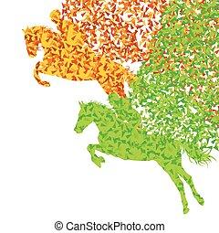koń, jeździec, abstrakcyjny, odizolowany, skokowy, wektor, ...