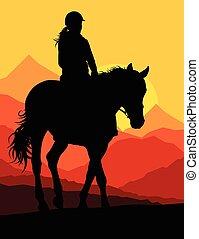 koń, jeździec, okolica, wektor, tło, sport, jeździec, ...