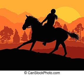 koń, jeździec, Okolica, Wektor, tło, sport, jeździec,...