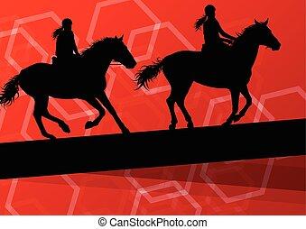 koń, jeździec, Wektor, tło,  sport, jeździec