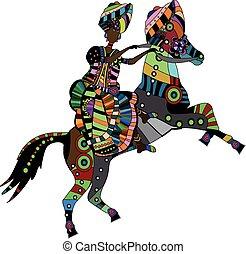 koń, jego, wstecz, kobieta