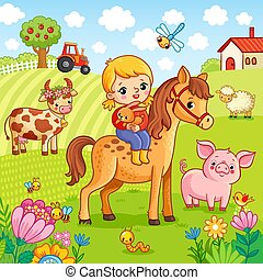 koń, jej, zawiera, królik, dziewczyna, siada, hands.