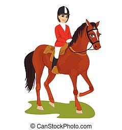 koń, kobieta, pociągający, ridding, młody