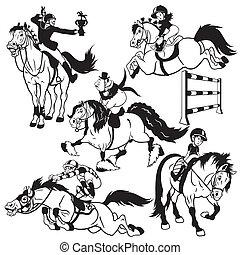koń, komplet, rysunek, jeźdźcy