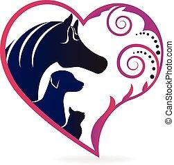 koń, kot, i, pies, serce, miłość, logo
