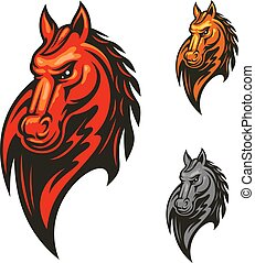 koń, mając na sobie, prażący, głowa, projektować, maskotka