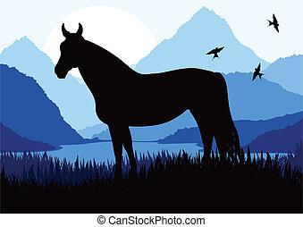 koń, natura, ilustracja, dziki, ożywiony, krajobraz