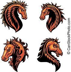 koń, ogień, prażący, dziki, mustang, maskotka