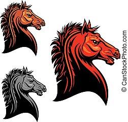 koń, plemienny, projektować, ognisty, dziki, mustang, czerwony, maskotka
