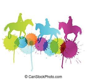 koń, pojęcie, kolor, wektor, plamy, tło, jeżdżenie