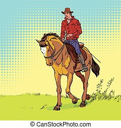 koń, poster., horsemanship., kowboj, rocznik wina, jazda, ...